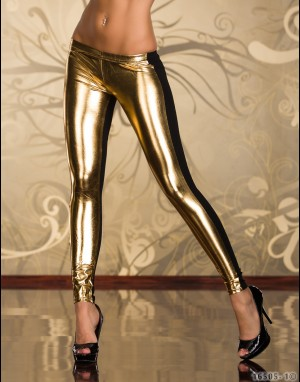 Leggings - goud / zwart 16505-1