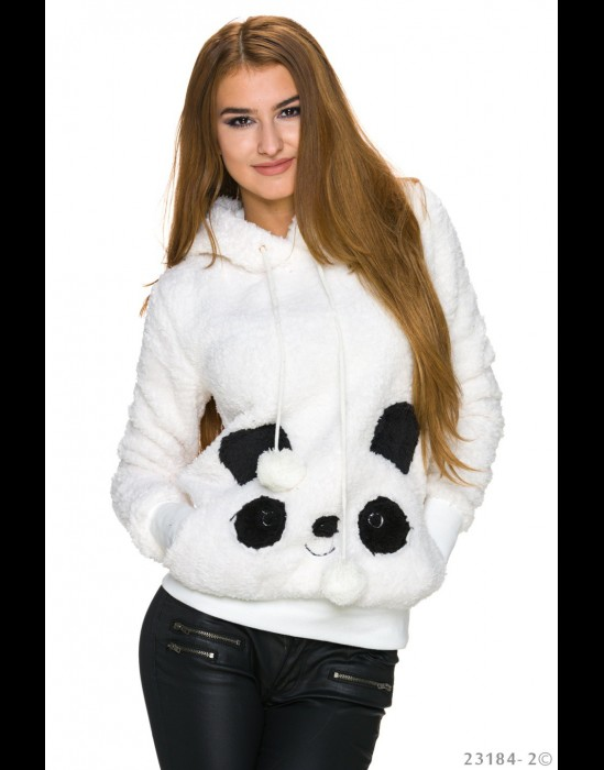 Sweater Met Capuchon - wit 23184-2