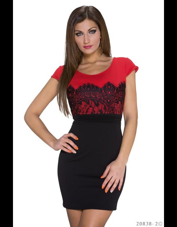 Rood Met Zwart Jurkje.Mini Jurk Rood Zwart 20838 2